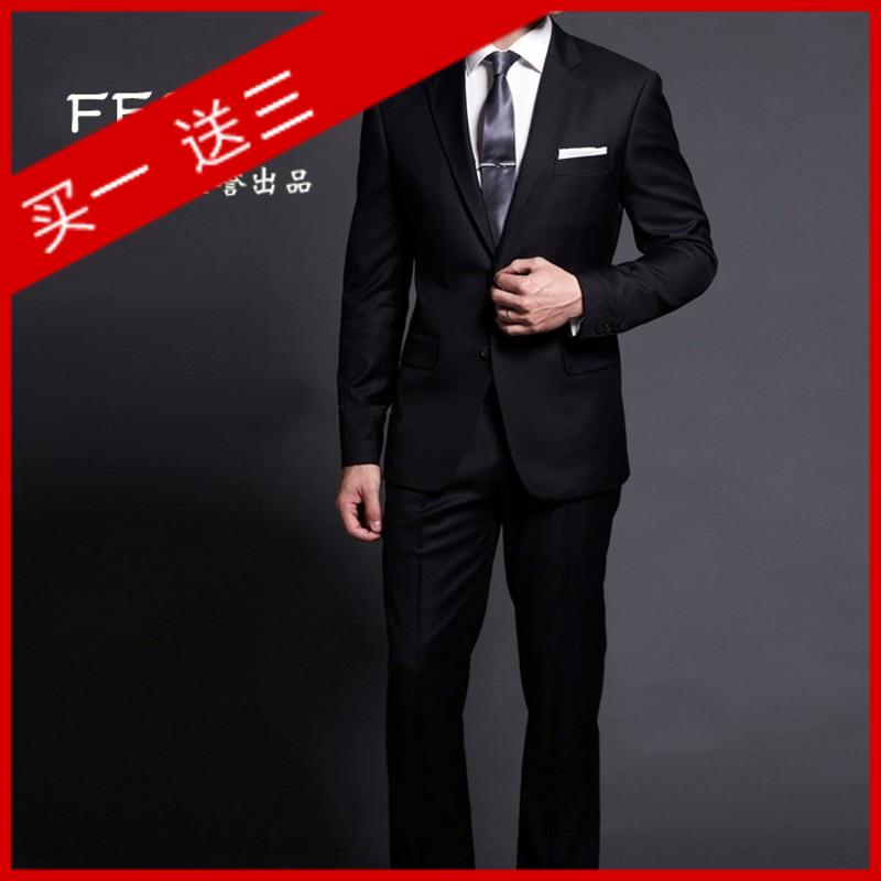 杉杉集团正品黑色两粒扣男士正装婚礼西服套装工服修身双开叉韩版