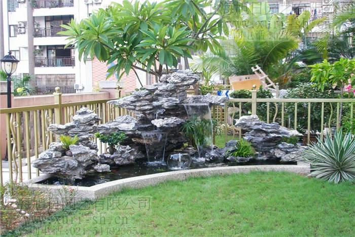 假山鱼池 水景喷泉 花园造景 景观流水天然石材 可喷水处理图片