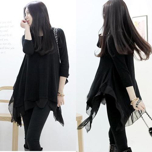 女装新款2015春秋装裙不规则长袖针织大码打底连衣裙黑色修身显瘦