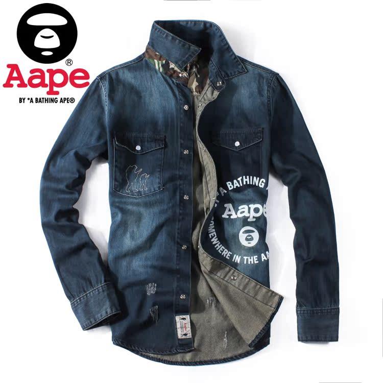 春夏季新款 AAPE陈冠希同款牛仔衫上衣薄款猿人头男士外套衬衫潮