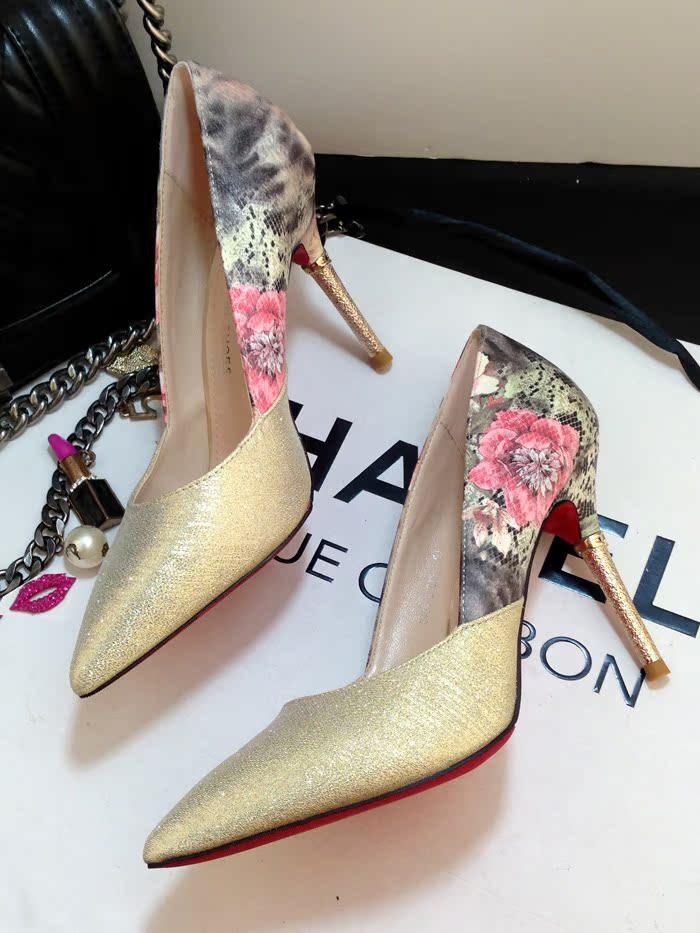 韩国单!花漾美人精致尖头鞋时尚印花浅口细跟高跟单鞋金银色婚鞋