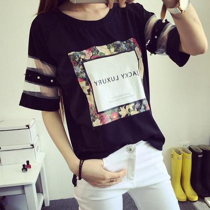 2015新款短袖t恤女夏季女装大码中长款纯色宽松半袖韩版上衣T恤潮