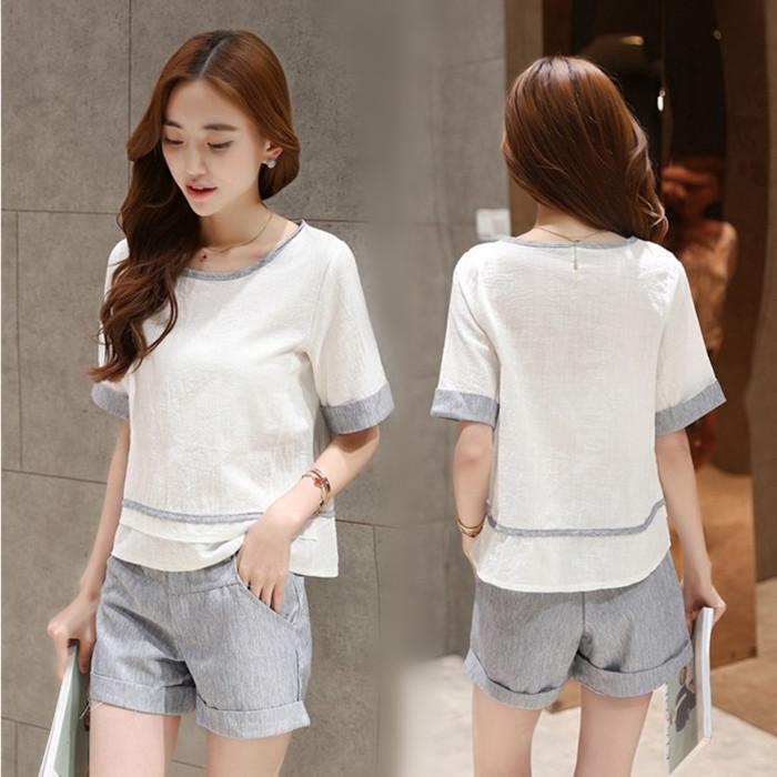 夏季新款二件套时尚棉麻短袖上衣加短裤气质名媛套装女韩版 潮
