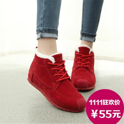 15春季新款韩版潮防水保暖雪地靴短靴女靴子女鞋黑色休闲学生棉鞋