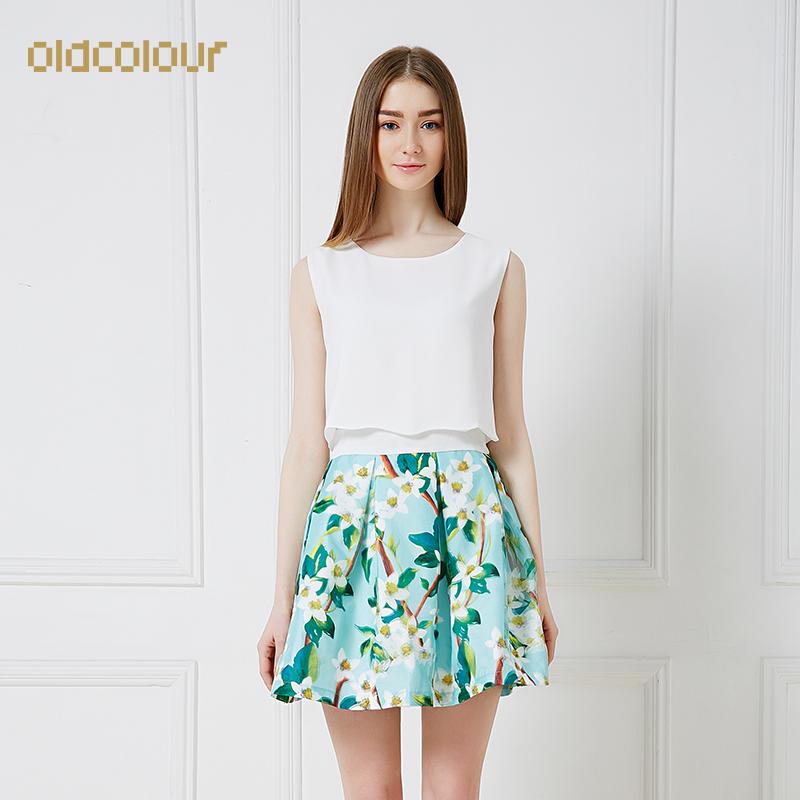 欧珂2015夏新品修身3D无袖印花雪纺连衣裙女假两件A字裙D21101018