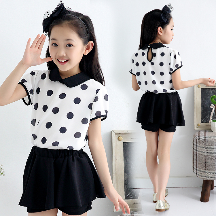 女童装2015新款夏装韩版潮波点短袖雪纺女童短裤裙儿童两件套装
