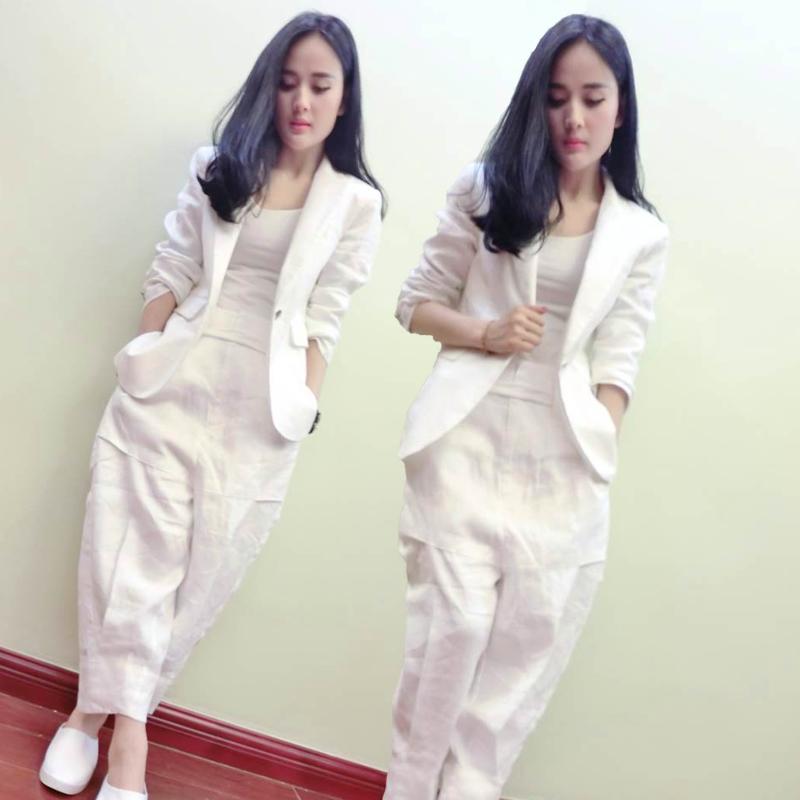 欧洲站2018春季新款西服时尚套装白色棉麻西装长裤名媛两件套女潮