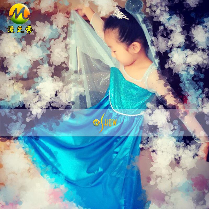 漫之秀品牌服装cosplay冰雪奇缘艾尔莎女王女童装儿童长裙礼服裙
