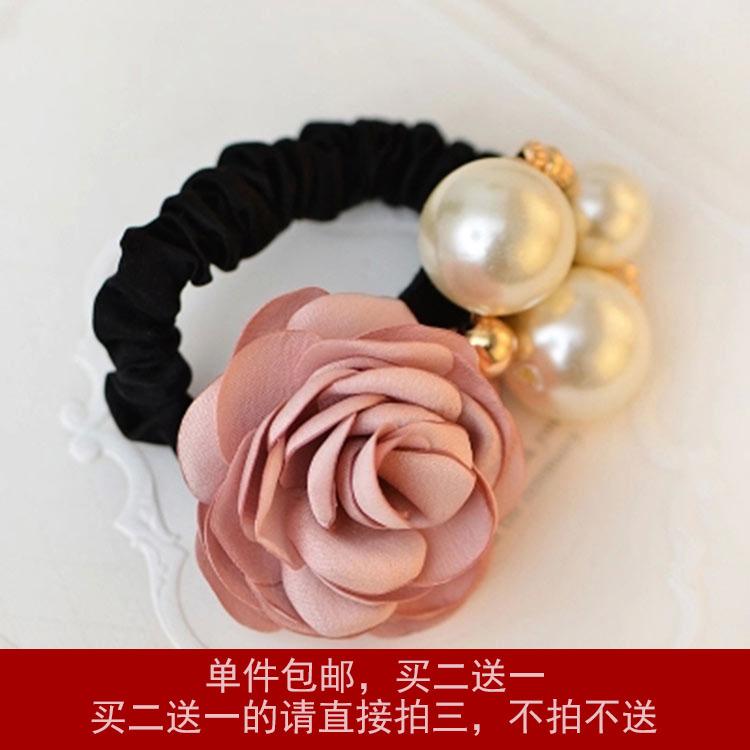 韩国玫瑰珍珠发圈橡皮筋发绳头饰品花朵头绳头花皮筋马尾特价包邮