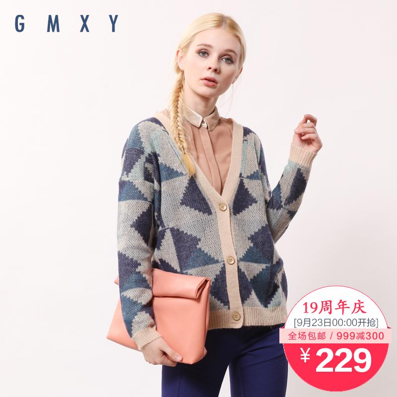 【周年庆】古木夕羊GMXY2015秋装新款几何提花开衫 H445809
