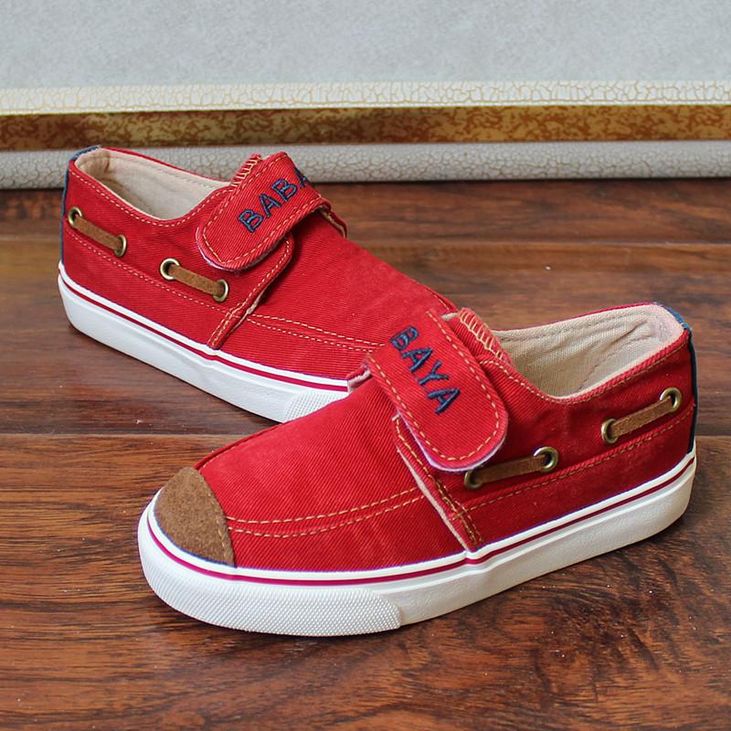 芭芭鸭童鞋帆布鞋搭扣魔术贴学生鞋男童小童鞋板鞋休闲布鞋帆船鞋