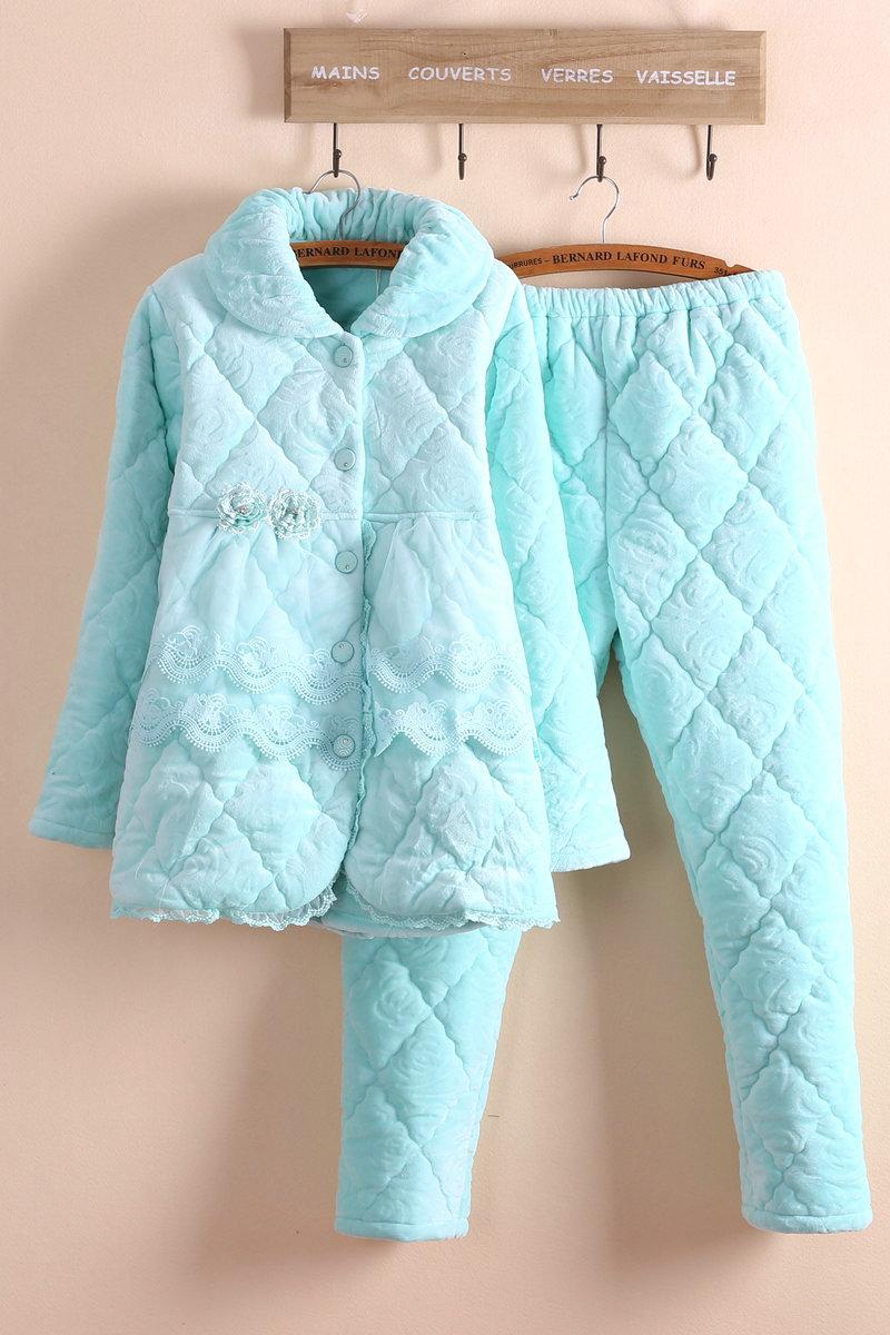 高档品牌小清新法兰绒夹棉睡衣女士加厚纯色蕾丝花边家居服套装冬