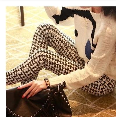 2015韩国时尚春夏季大码新款九分打底裤印花女牛奶丝系列显瘦塑