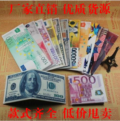 个性创意男士钱币图案钱包潮流女士短款装的学生帆布钱包