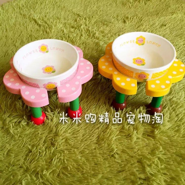 现货 日本小花碗 粉色 黄色 超可爱宠物陶瓷碗 餐桌 套装猫狗通用