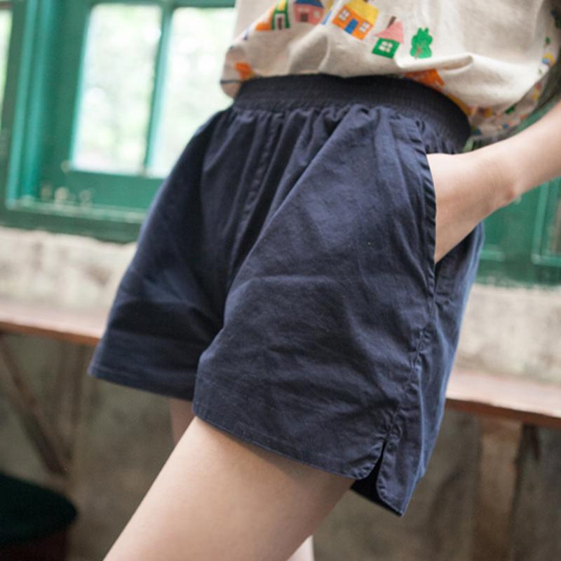 韩版大码女装休闲短裤女夏装新款松紧腰阔腿裤森女系宽松显瘦热裤