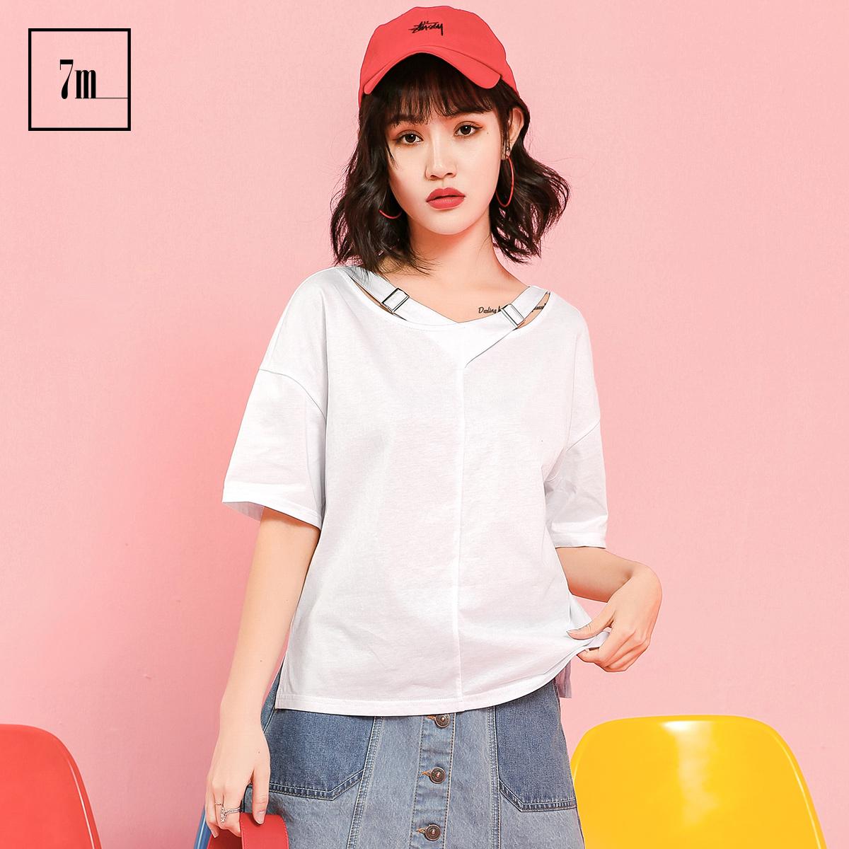 白色上衣拉夏贝尔7m2018夏装新款潮交叉颈带内搭宽松短袖t恤女