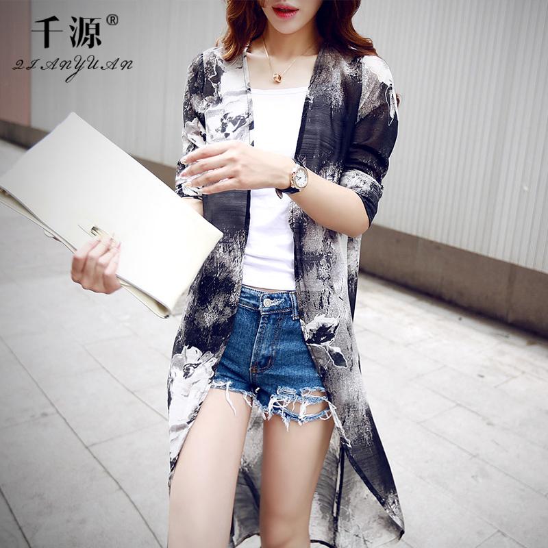 千源雪纺衫韩版新款五分袖印花开衫2015夏薄款防晒衣中长款空调衫