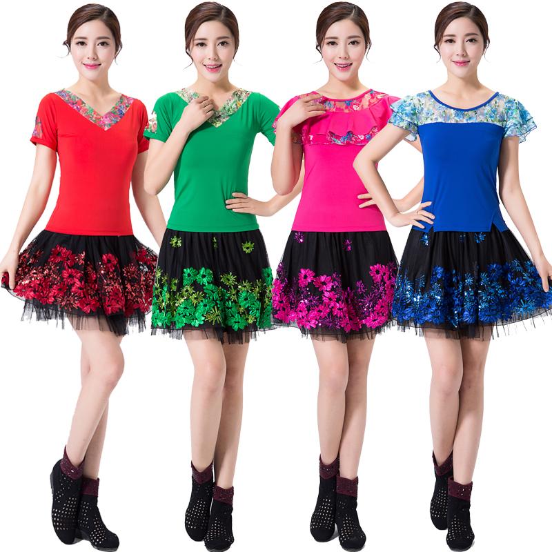 苏尼达广场舞服装套装新款夏季舞蹈服装短袖跳舞衣服拉丁舞短裙女