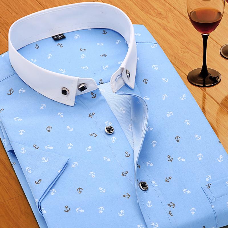 梵杉夏季男士短袖印花衬衫大码男衬衣格子修身潮流休闲白寸衫男装