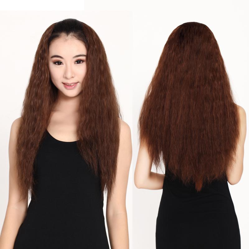 假发长卷半头套 逼真玉米烫女士长发蓬松发型长卷发 女 半头假发图片