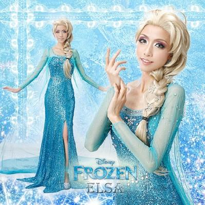 冰雪奇缘艾尔莎 elsa 公主 cos服 cosplay服装 裙子 全套