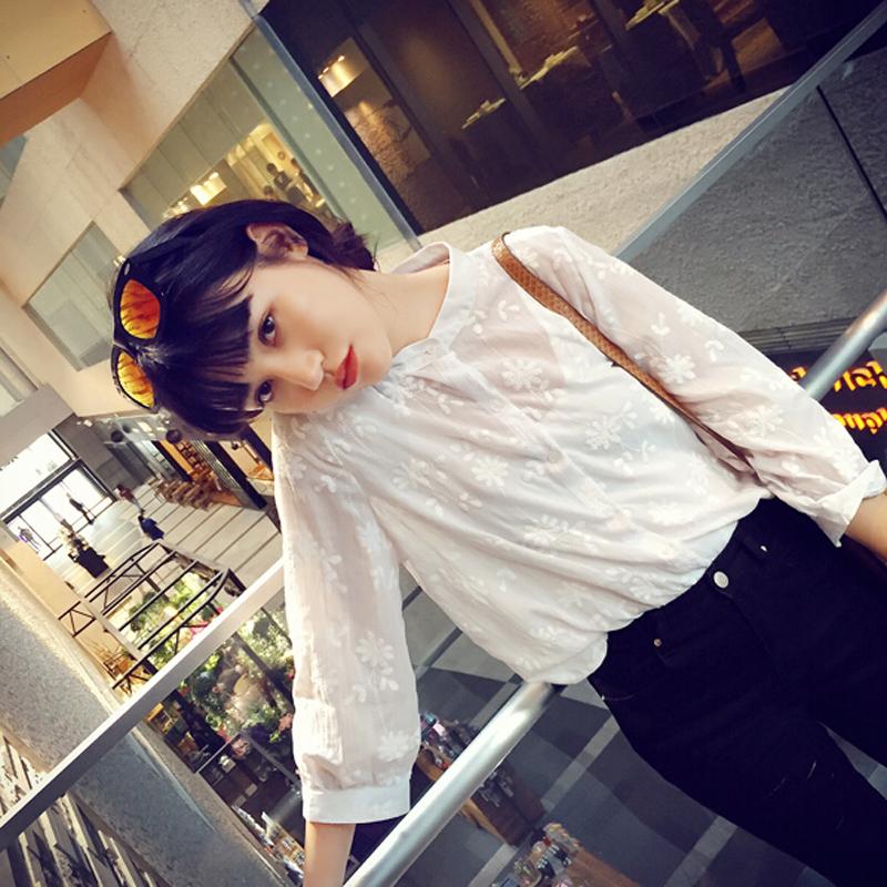 2015夏装新款韩版立领印花薄款长袖白衬衫衬衣女开衫上衣雪纺衫潮