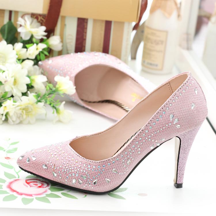 2015春季新款女鞋精致高跟女鞋潮女单鞋水钻鞋婚鞋浅口尖头宴会鞋