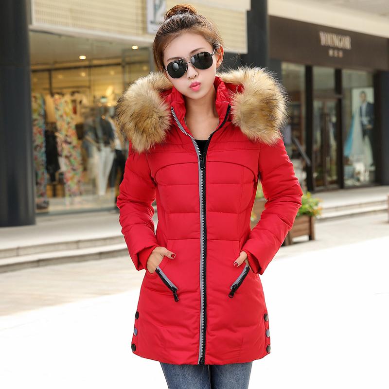 反季清仓特价女士冬装棉衣大码修身羽绒棉服中长款大毛领加厚外套