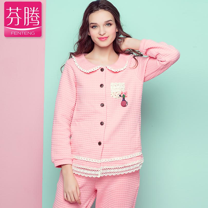 芬腾女士新款秋冬季睡衣女甜美蕾丝花边长袖薄款夹棉家居服套装