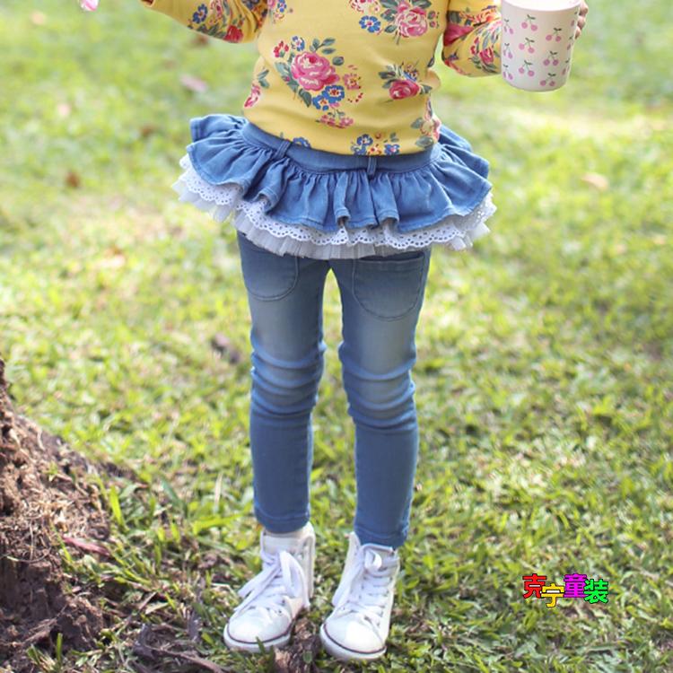 2015春秋韩版童装冬季女童牛仔裤儿童长裤子加厚加绒裙裤打底裤