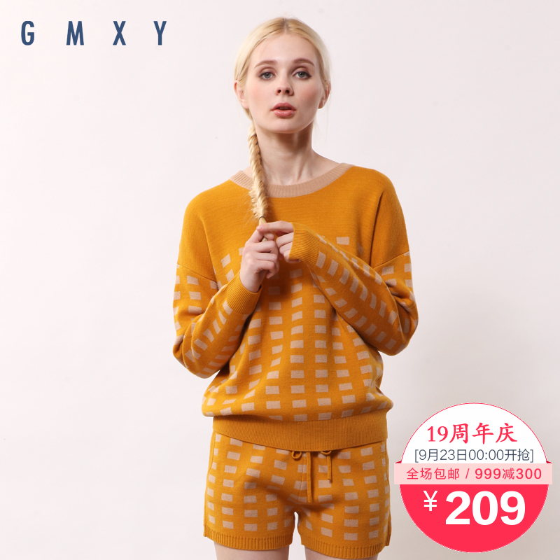 【周年庆】古木夕羊GMXY2015秋装新款圆领提花套衫 H145837