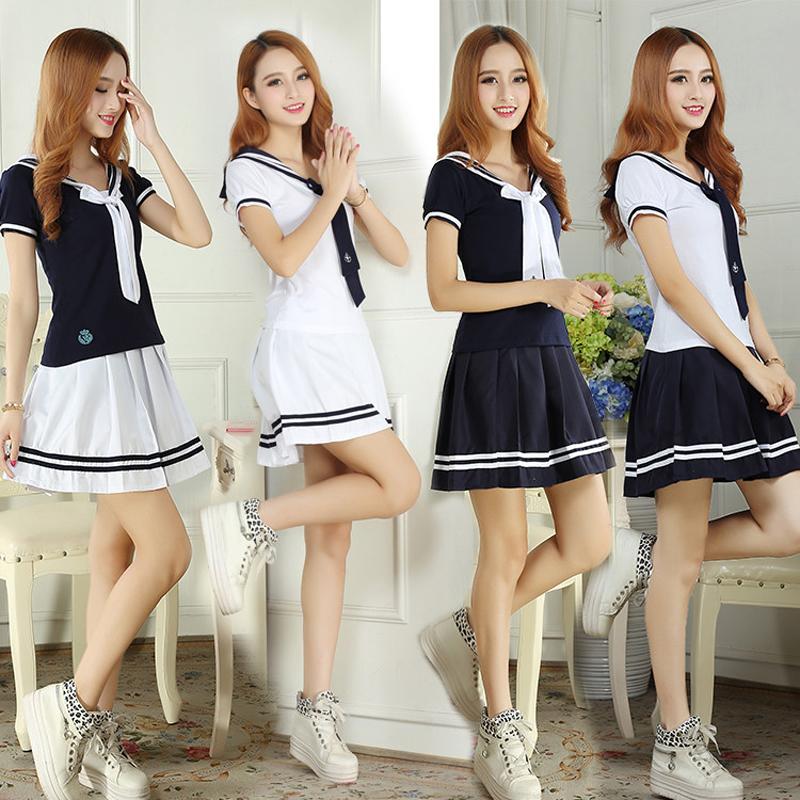 韩版女学生装英伦学院风校服班服JK制服套装夏装短裙职业演出服