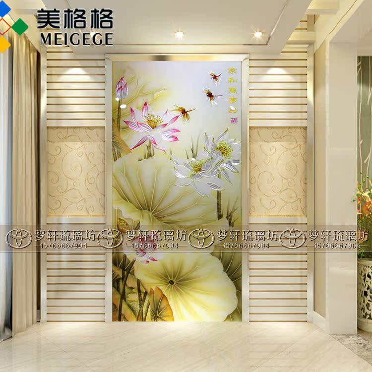 品促销钢化艺术玻璃 装饰玄关过道背景墙雕刻彩绘工艺 家和福顺