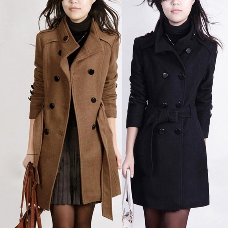 毛呢外套女秋冬款韩版时尚百搭双排扣风衣大码胖mm加厚羊毛呢大衣