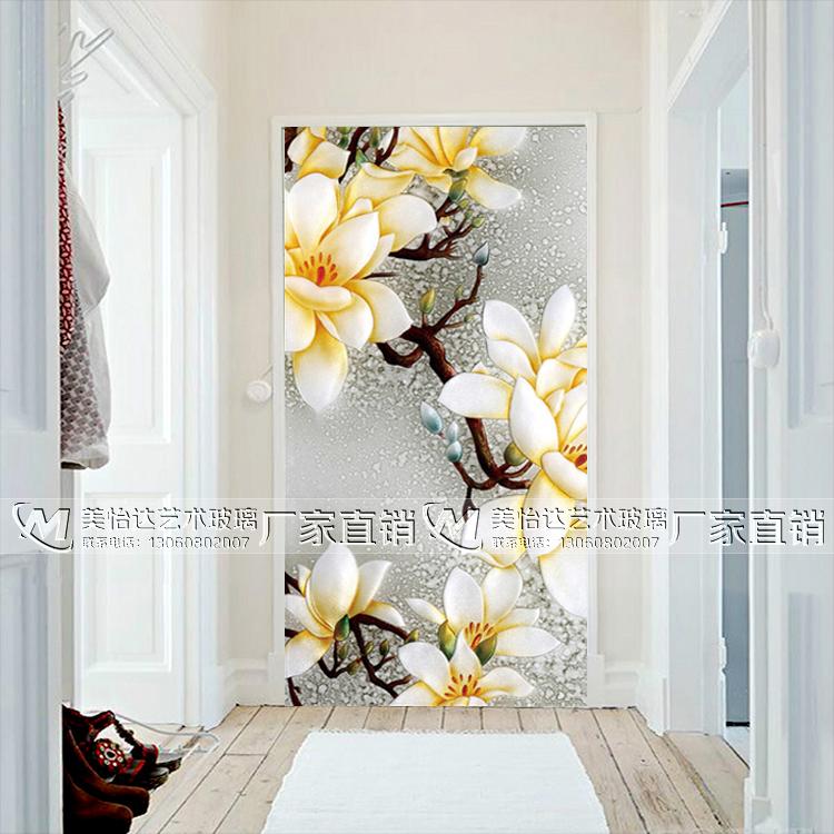 艺术玻璃 玄关过道 背景墙 深雕金箔 艺术彩绘现代简约 情意绵绵