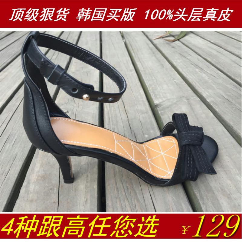 2015夏韩版一字扣带真皮细跟中跟女罗马凉鞋磨砂蝴蝶结低高跟鞋黑