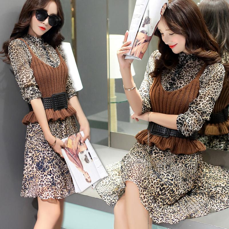 包邮秋装新款2015韩版豹纹长袖雪纺连衣裙两件套套装打底裙子女潮