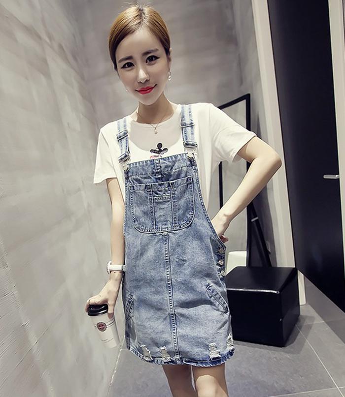 2015夏装新品女连衣裙 韩版显瘦高腰套头无袖做旧破洞牛仔背带裙