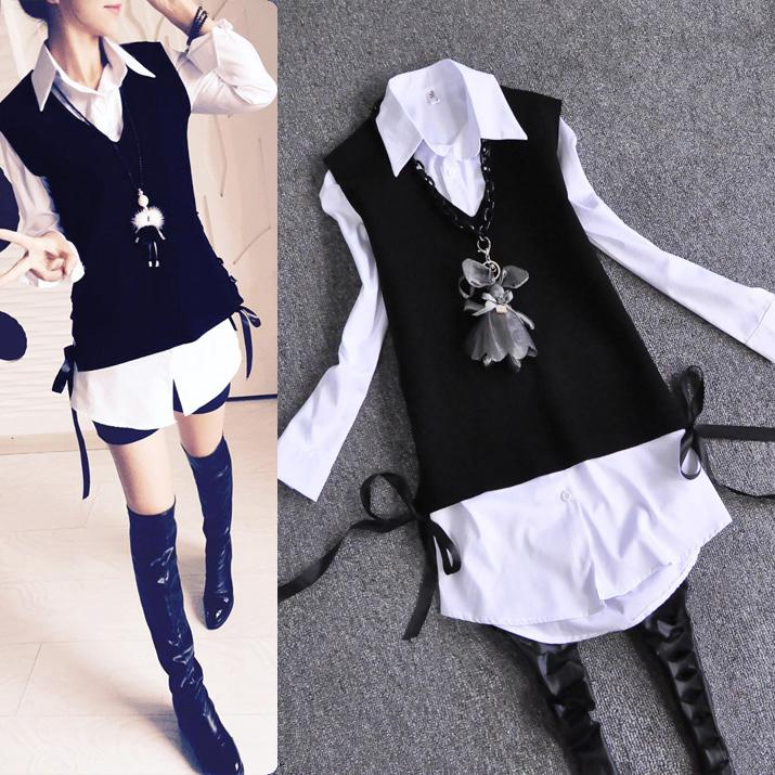 衬衫女长袖2018春装新款宽松女装马甲中长款衬衣显瘦韩范两件套装