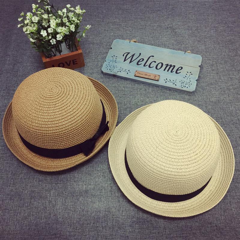帽子女春夏天韩版草帽 圆顶卷边小礼帽蝴蝶结沙滩帽遮阳帽日系潮