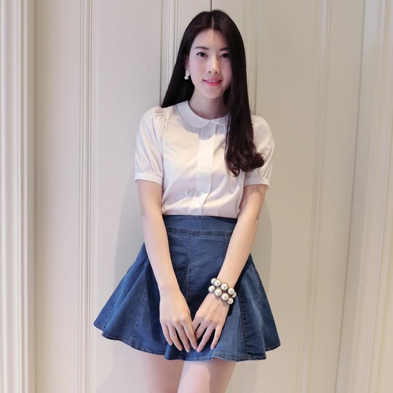 458娃娃领短袖白衬衣学院风白色衬衫女春 夏季