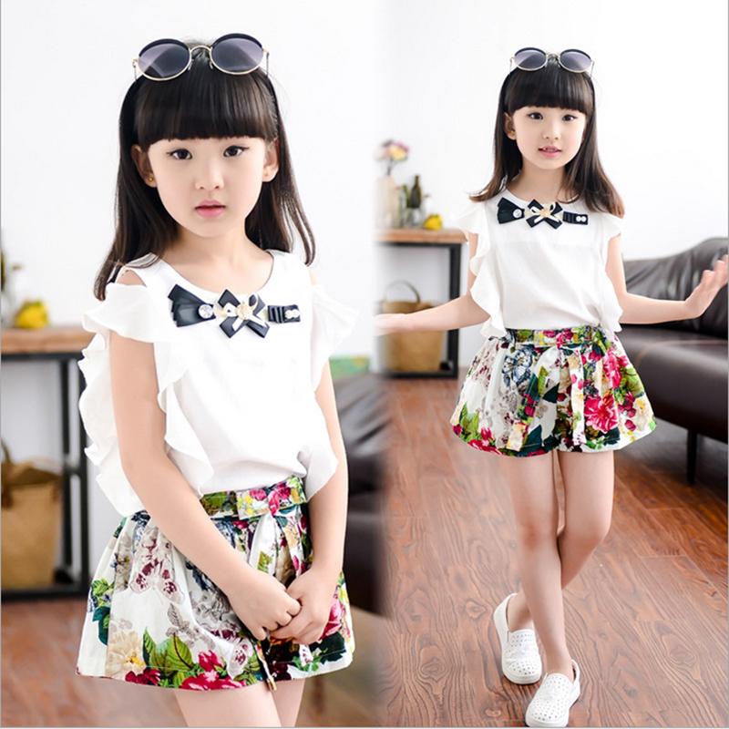 女童装夏装套装2015新款韩版夏季短袖上衣亚麻短裤裙两件套3-12岁