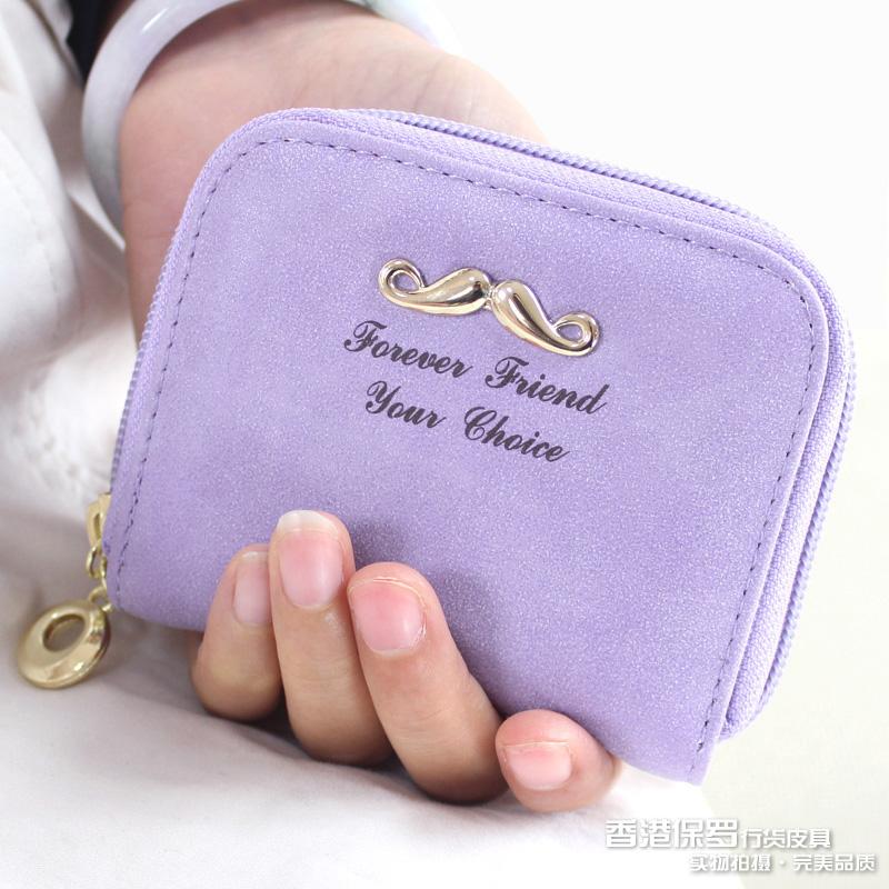 欧美时尚小单拉链包女士零钱包小清新女式手拿包短款钱夹潮包包邮