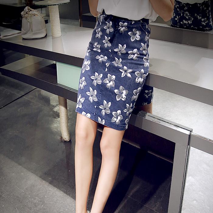 包臀半身裙女2015夏装新款韩版气质花朵印花后开叉系带松紧腰短裙