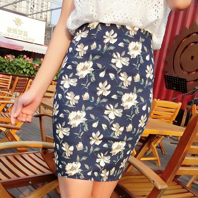 2015夏季新款韩版修身高腰碎花短裙半身裙小清新印花包臀裙潮女夏