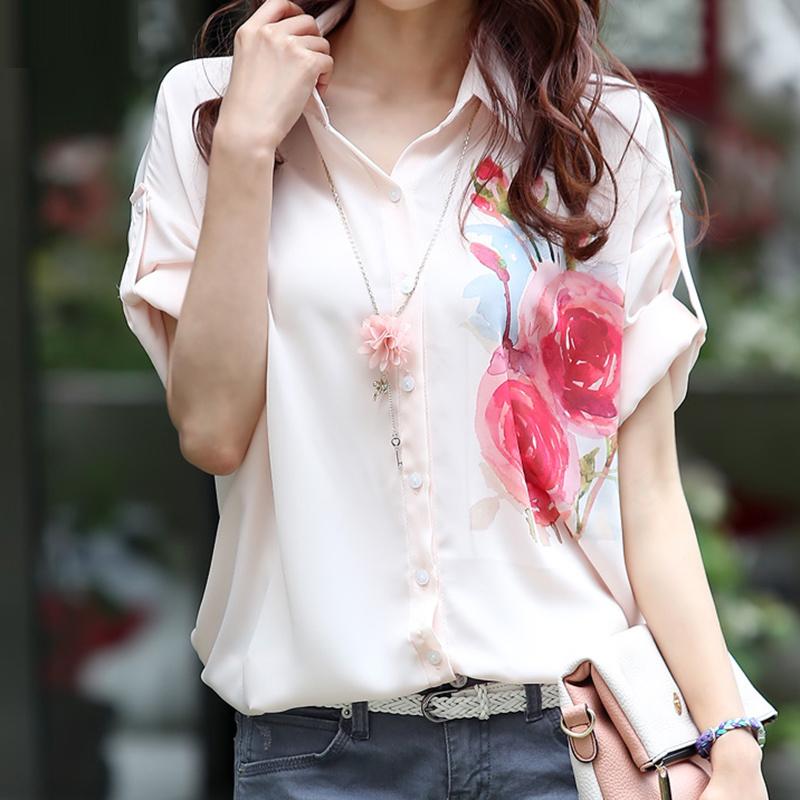 2015新品夏装韩版薄款雪纺衫女短袖宽松印花女装中长大码夏季衬衫