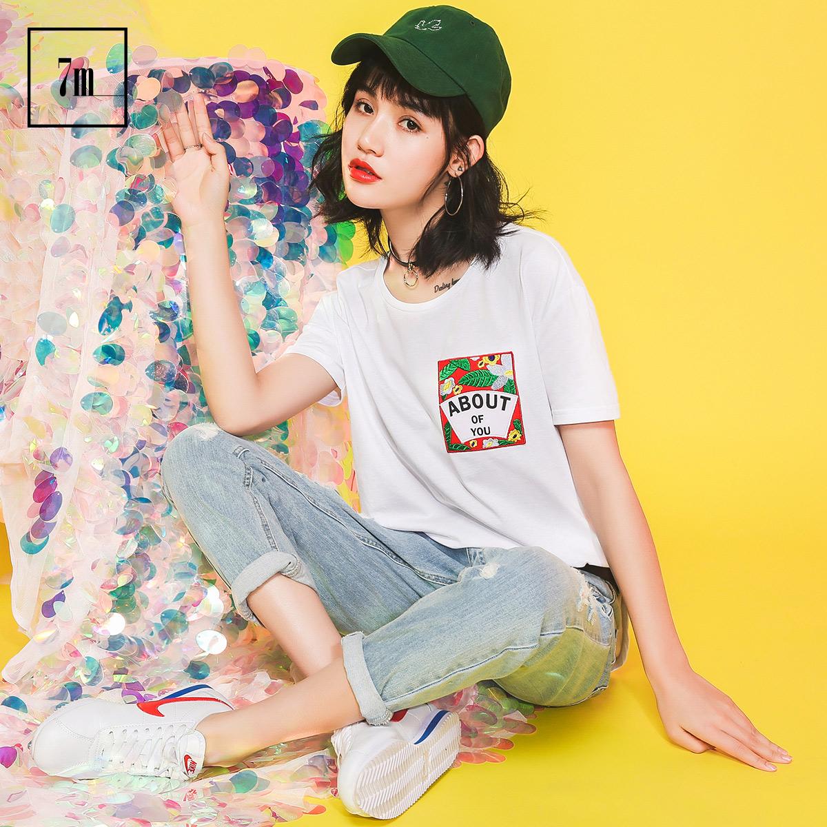 宽松上衣拉夏贝尔7m2017夏季新款韩版含棉印花开叉圆领短袖T恤女