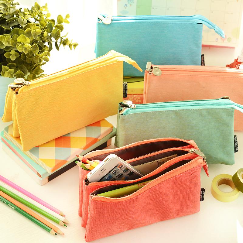包邮 韩国创意男女三层大容量拉链笔袋 简约帆布多功能文具铅笔盒