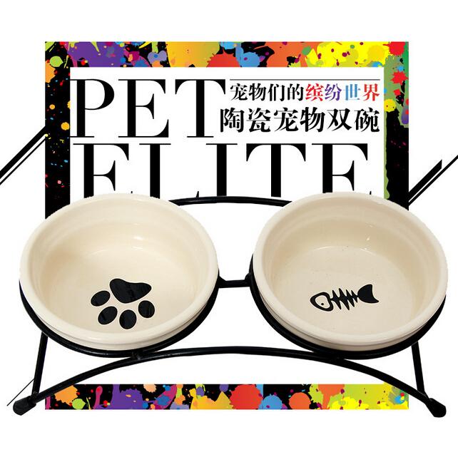 包邮狗狗铁艺比熊狗食盆 水碗猫咪碗陶瓷碗双碗宠物饭盆泰迪狗碗